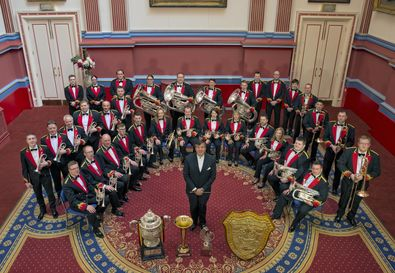 10 Sep Black Dyke Band 2015 With Trophies